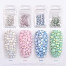 1 Pack 350pcs Multi Size SS4-SS20 Opal Nail Rhinestones Flatback Crystal Stones Glass Gem For DIY UV Gel 3D Art Decorations