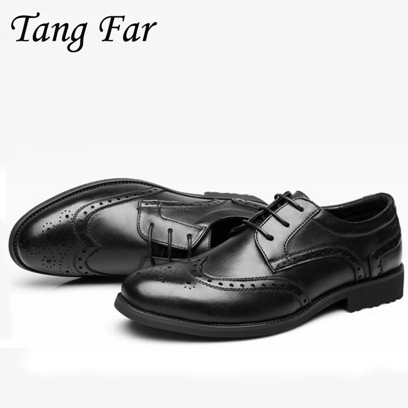 2018 spring new Men Business Formal Leather Shoes Pointed Toe Black Brown Mens Carved Brogue Shoes new fashion men shoes comfortable pointed toe genuine leather for men chelsea boots brogue anti skid business shoes black brown