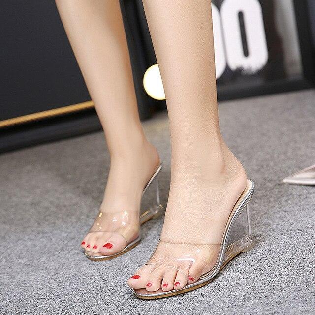 CBJSHO Transparent Crystal Wedges Slippers Summer Women Sexy High Heels Slipper  Sandals Elegant Open Peep Toe Outside Slippers 6325b7bcfce2
