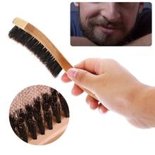 Shellhard 1pc Men Facial Shaving Brush Long Bamboo Handle Boar Bristles Brusher Mustache Beard Styling Brush