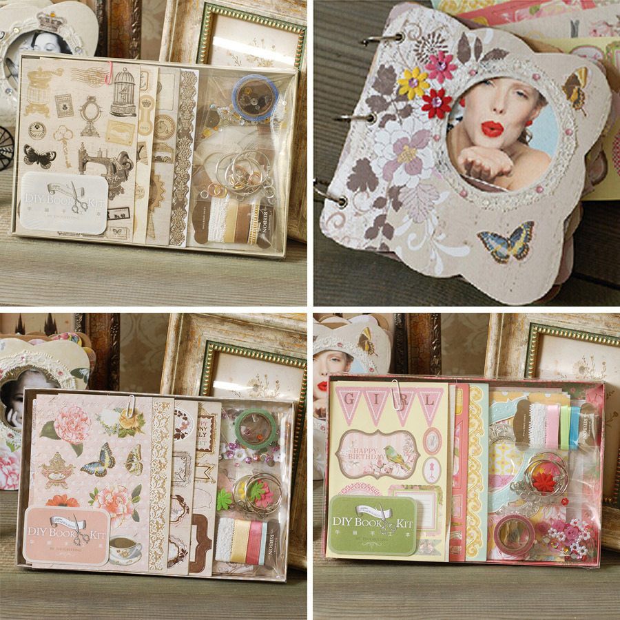 DIY Photo Album Vintage chipboard album kit 3 Ring binder scrapbooking album