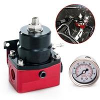 Adjustable Autos Fuel Pressure Regulator 160PSI Gauge AN 6 Fitting End ,NPT Gauge Port + Fuel Pressure Regulator