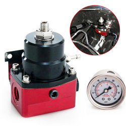Regulowany Regulator ciśnienia paliwa Autos 160PSI Gauge AN 6 koniec montażu  Port miernika NPT + Regulator ciśnienia paliwa