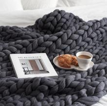 Большой мягкой руки трикотаж крупной вязки Одеяло Пледы для Зима кровать диван плоскости толстой пряжи Вязание Бросьте 16 Цвета диван одеяла