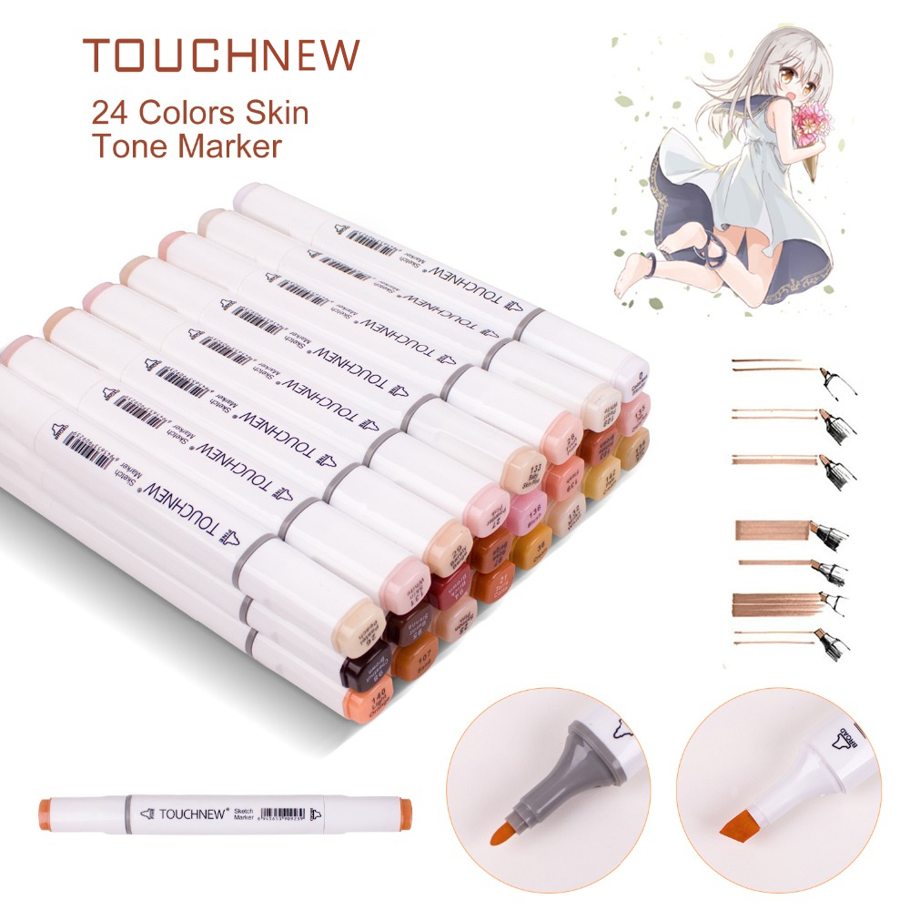 TOUCHNEW Dual Marker Pen Alcohol In Art Marker ,Sketch pens Skin Tones Markers , for Portrait Illustration  Drawing Art Supplies art