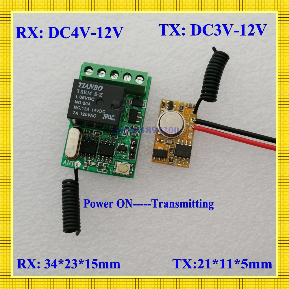 PLC RF Remote Transmitter Input Power Transmitting 3V-12V 3.3V 3.7V 4.5V 5V 6V 7.4V 9V 12V 10A Mini Relay Receiver Remote Switch dc3v dc12v 3v 5v 9v 12v mini rf transmitter module for sensor detector inductor with receiver ac220v 10a 100 300m transmitter