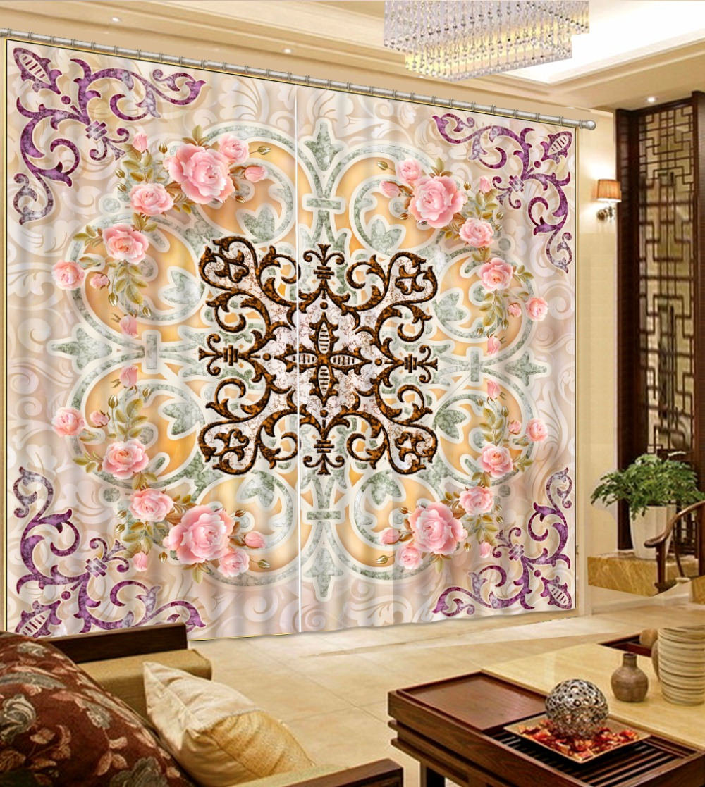 European 3D rose Curtains For Bedroom Luxury pattern ...