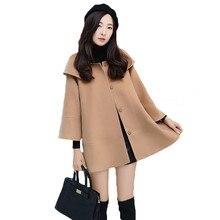 Осень-зима новое шерстяное пальто женский, с круглым вырезом с длинными рукавами спортивный Однобортный Для женщин плотная накидка Шерстяное пальто плюс дизе LQ153