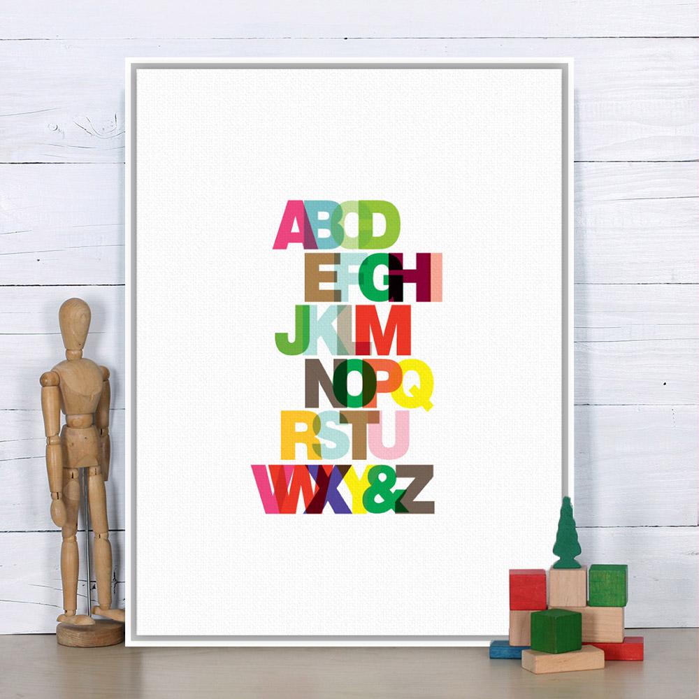 Color art tipografia - Moderno Minimalista Rainbow Alfabeto Ingl S Tipograf A Grande A4 Art Print Poster Pared Foto Lienzo Pintura Ni Os