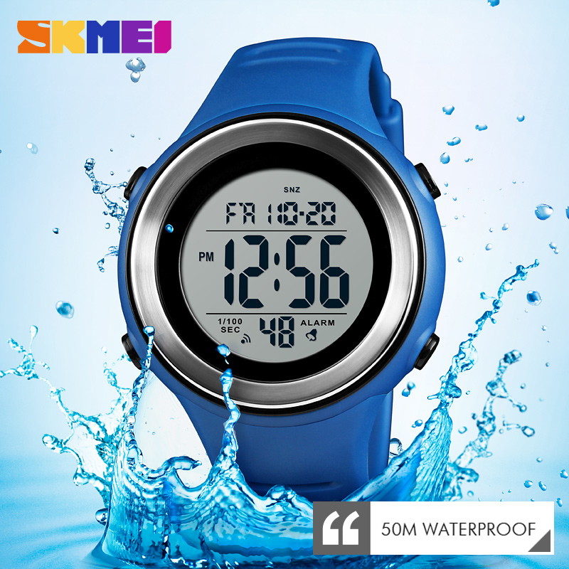 <font><b>SKMEI</b></font> Men Sports Watch LED Luminous Waterproof Digital Watch Wrist Dual Time Timing Backlight Waterproof Watch Relogio Masculino image