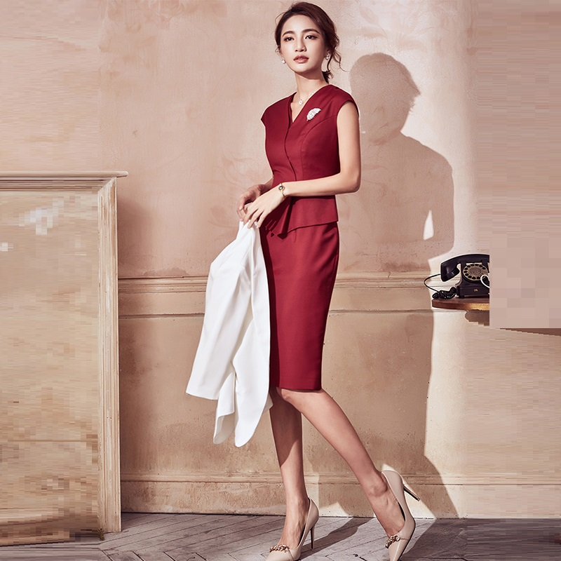 Miss Sales Business Suits, Women's Formal Dress Suits,<font><b>2018</b></font> New Styles,White-collar Beautician Dress,Elegant Work Uniforms,<font><b>F1</b></font> image