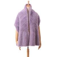 Осенне зимняя теплая шаль из натурального меха норки длинные женские меховые шарфы фиолетовый черные, бежевые вязаная меховая накидка S106