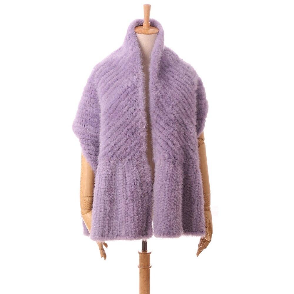 Automne hiver chaud châle de naturel fourrure de vison à long femmes écharpes de fourrure violet noir beige tricoté fourrure cape S106