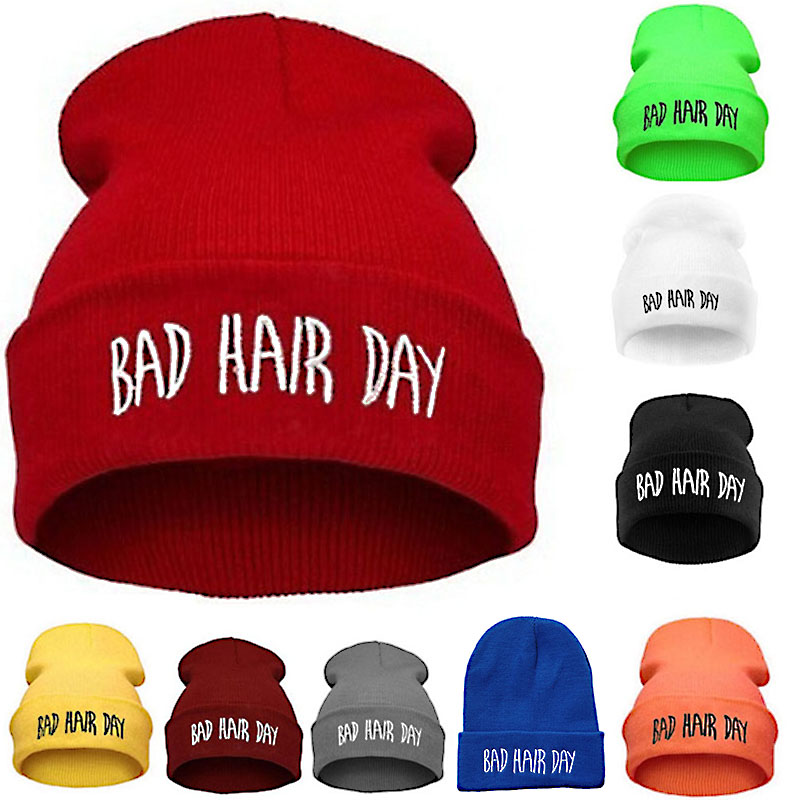 Fashion Sport Warm Winter Hats Bad Hair Day Letter Beanies Cap Women Men Hat Beanie Knitted Hip Hop Hats Bonnet For Unisex