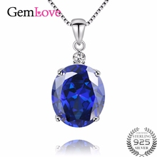 Фотография Gemlove Tanzanite Topaz Designer Natural Stone Necklace Women 925 Sterling Silver Necklaces Pendants with Chain Box 40% FN010