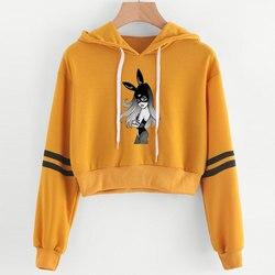 2019 Korean crop top hoodie Women Harajuku Kawaii Ariana Grande Hoodie clothes Female Pink Casual Hip Hop Hoodies Sweatshirts 5