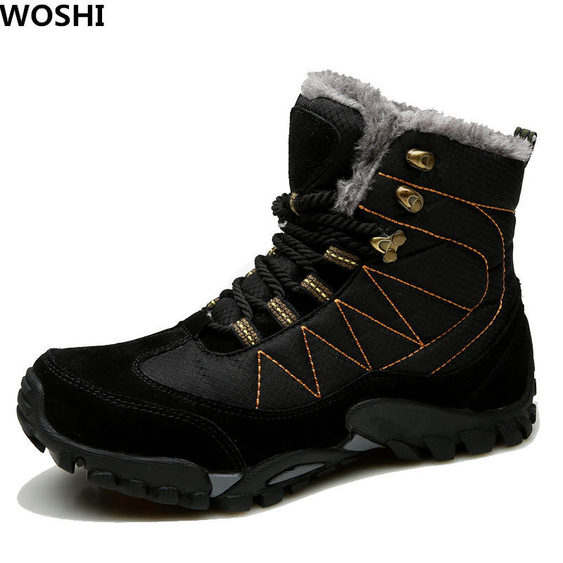 Big size 12 Winter Men Boots With Fur Men Fahsion Snow boots Casual Ankle Boots Men Leather Shoes For Men Keep Warm boots k45 zenvbnv winter leather men boots work casual boots men keep warm shoes male rubber snow cow suede leather ankle boots for men