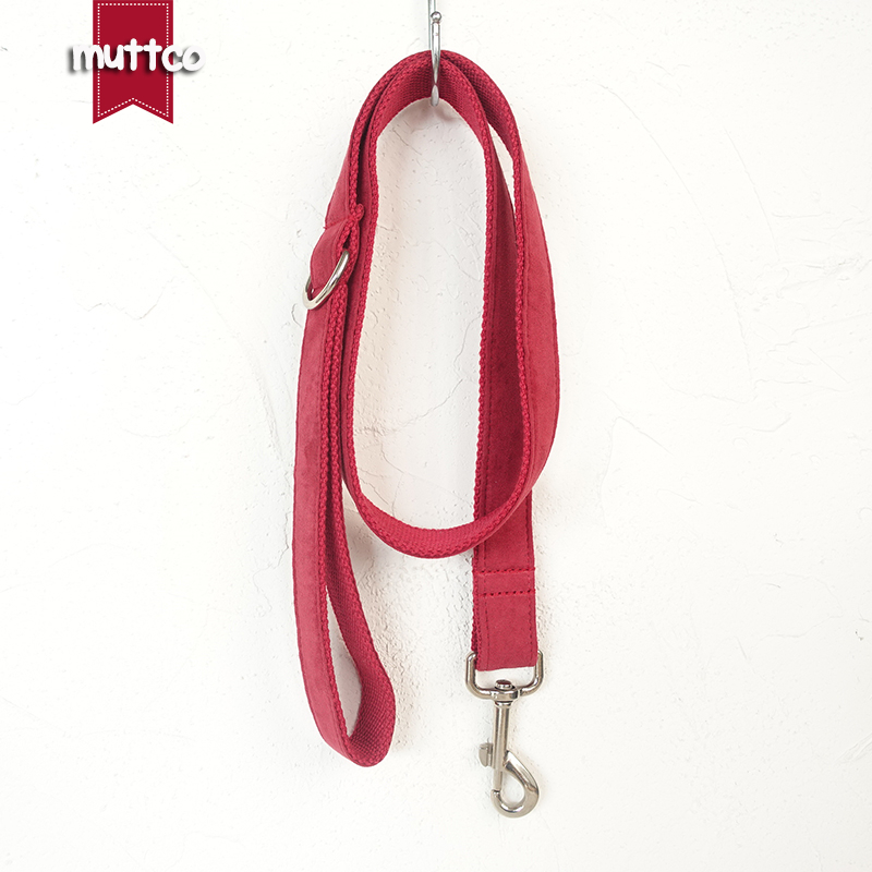 MUTTCO retailing special self-designed personalized red dog leash THE CHERRY canvas dog collars and dog leashes 5 sizes UDL020
