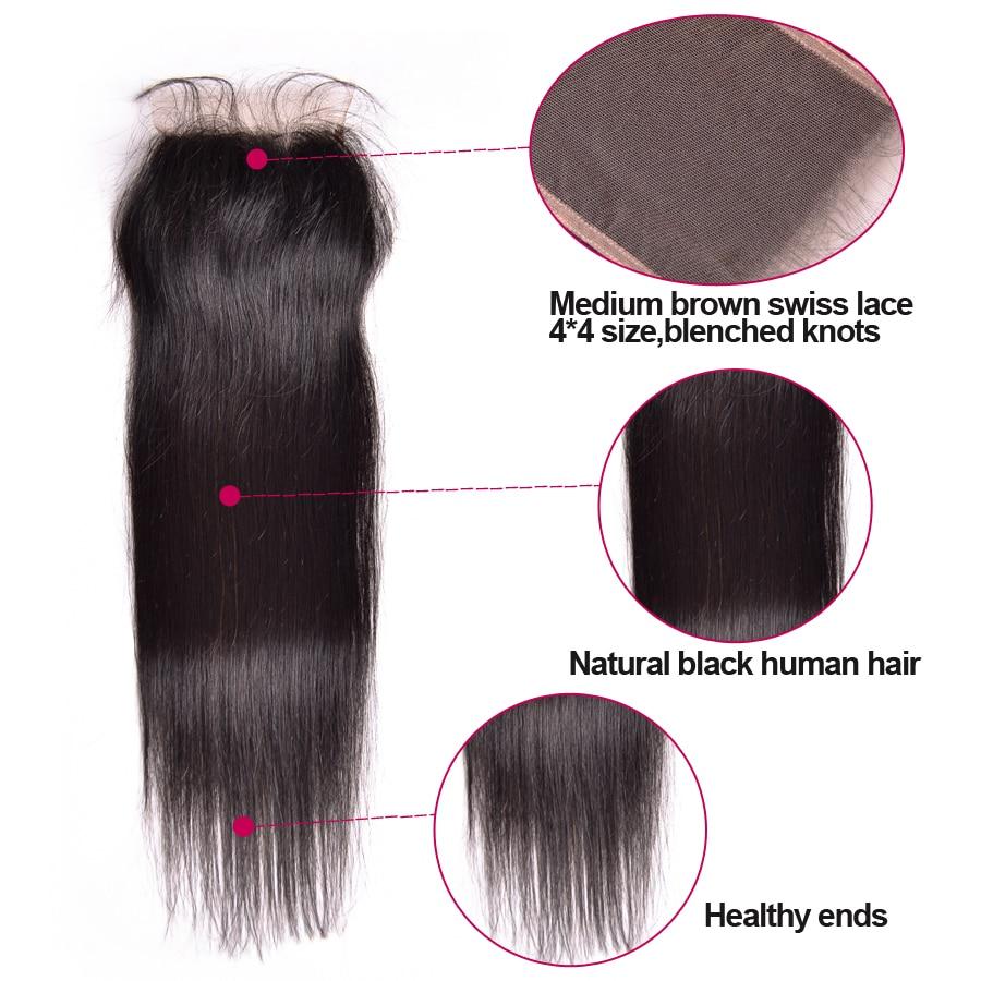 ALIPOP բրազիլական ուղիղ ժանյակային - Մարդու մազերը (սև) - Լուսանկար 3