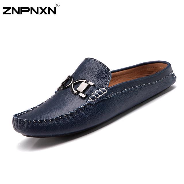 2016 Nuevos Planos de Los Hombres Zapatos de Cuero Genuino Hombres Zapatos Hombre Mocasines Resbalón En los Zapatos Ocasionales de Los Hombres Sandalias Medio