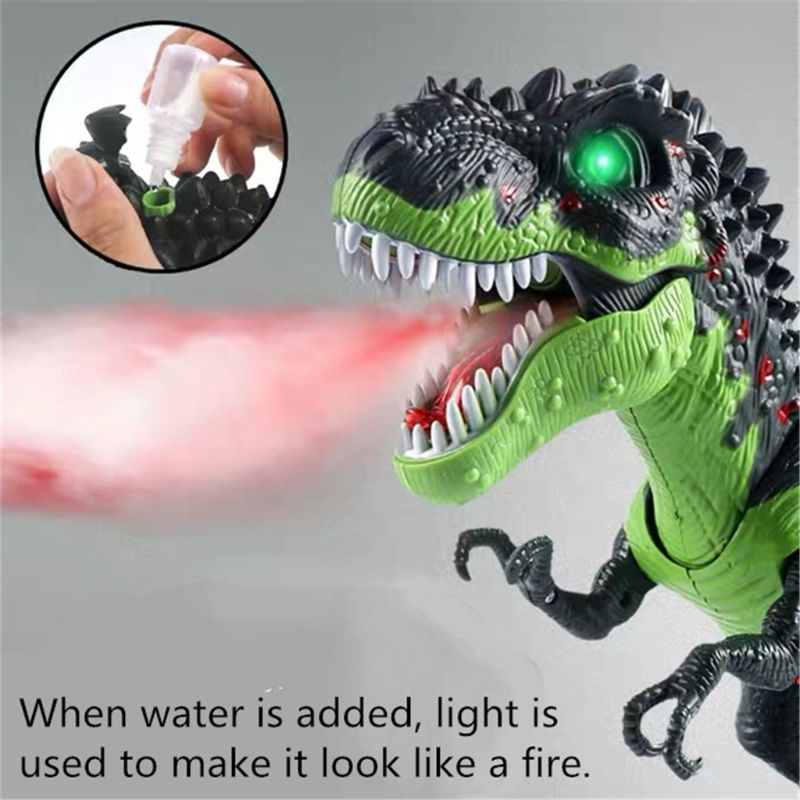 Simulated Flame Spray Tyrannosaurus T-Rex Dinosaur Toy Kids Walking Dinosaur Water Spray Red Light & Realistic Sounds