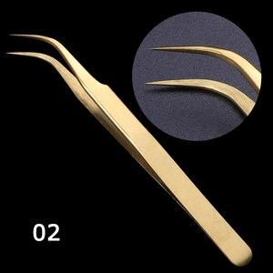 Image 4 - STZ 3 pièces droit + courbé pince à épiler ensemble pince pour cils cils Extension bigoudi stratification doré maquillage ongles accessoire G01 03