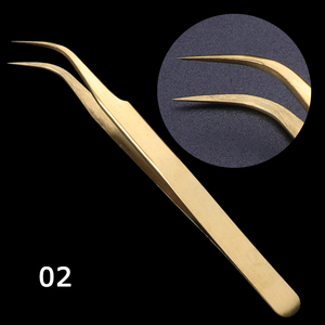 Image 4 - STZ 3pcs Straight+Curved Tweezers Set Clip For Eyelashes Lash Extension Curler Lamination Golden Make up Nail Accessory G01 03