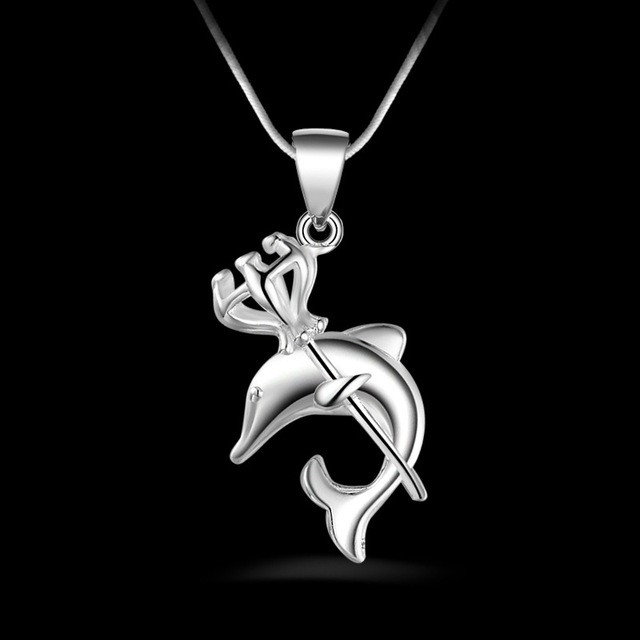 Crown dolphin pendant necklace for women necklaces pendants 925 crown dolphin pendant necklace for women necklaces pendants 925 sterling silver jewelry charms jewellery choker aloadofball Choice Image