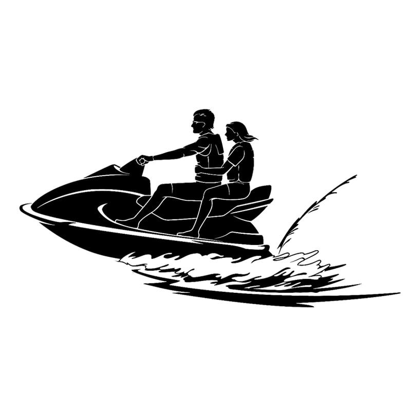 19.7CM*10.2CM Creative Yacht Jet Water Sports Car Sticker Vinyl Decor Black/Silver S9-0340