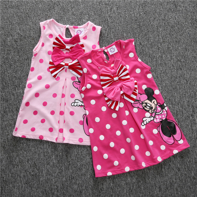 cde438ef0e857 Fashion Children Baby Girl Summer Clothes Sleeveless 6 Month To 3 Years  Toddler Girl Dress Kid Dot with Double Bowknot