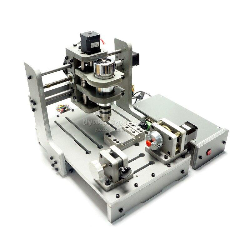 4 Axis 300W Spindle Mach3 Control CNC Router Engraver CNC mini PCB Milling Machine mini lathe woodworking machine 4 axis cnc wood router cnc 3d engraving machine with rotary axis 300w spindle for pcb milling