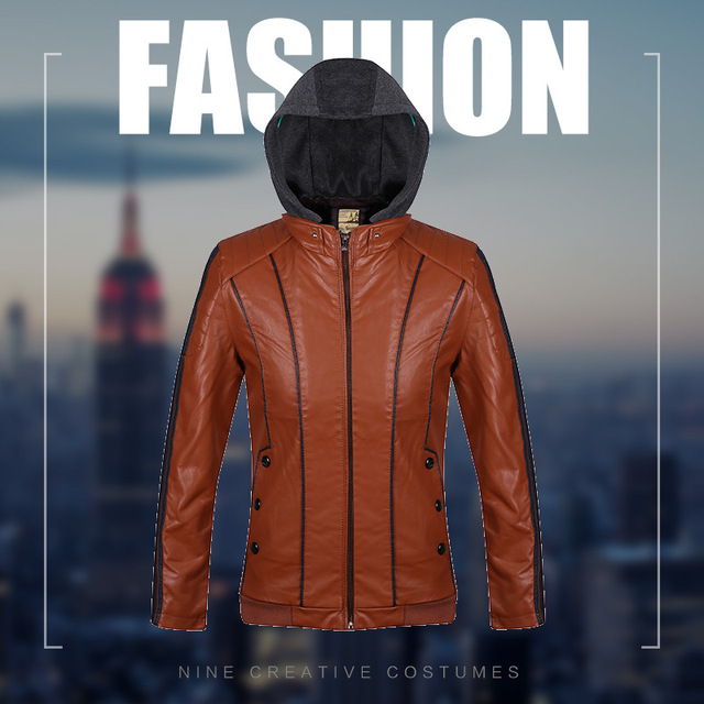 Warmer Hooded Leisure zipper leather new men 's self - cultivation motor vehicle leather jacket business jacket