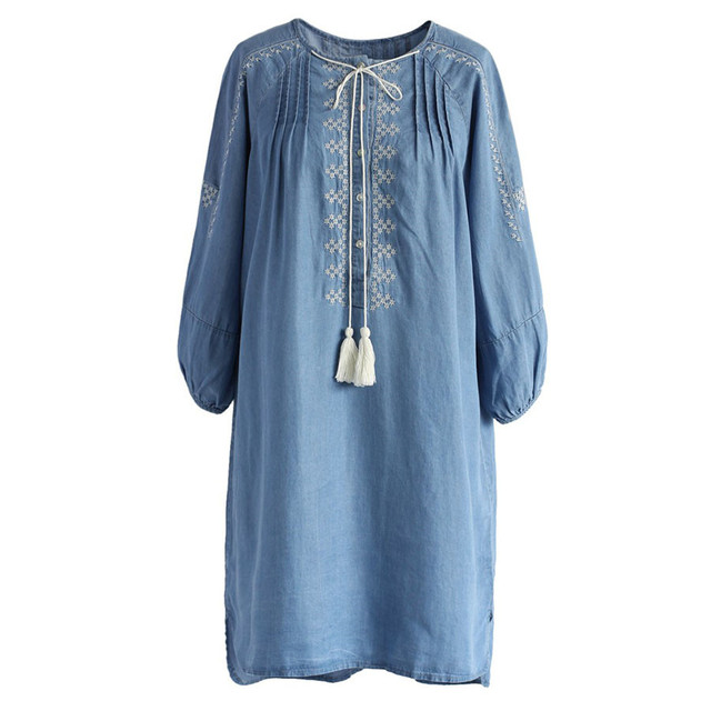 73a4035509f 2018 Spring Summer Denim Dresses Women Vintage Ethnic Embroidery Jeans  Dress Casual Plus Size Vestidos Jeans