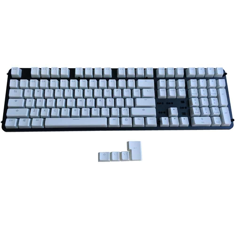 Keyboard keycaps PBT White Pudding Keycaps Backlit Doubleshot with Keycap Holder for 60/%//87104//108 MX Switches Mechanical Keyboard