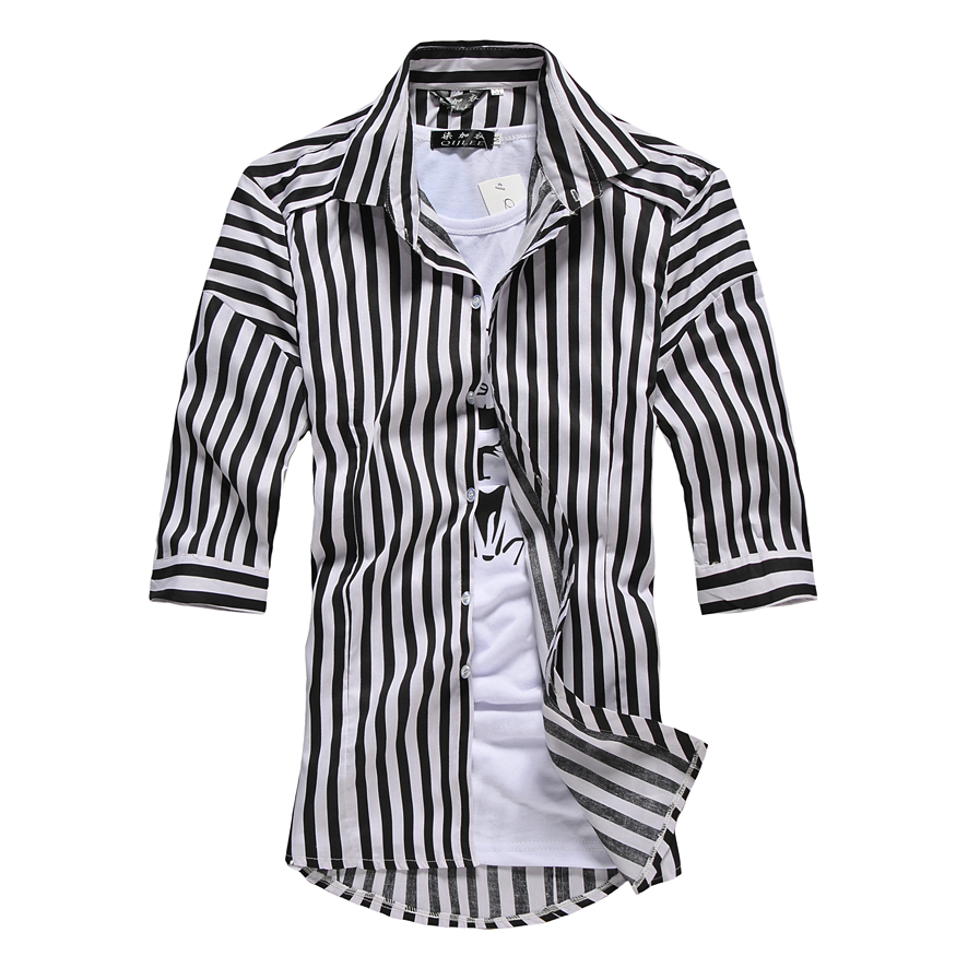 Spring Autumn Fashion Striped Shirts Half Sleeve Men Dress