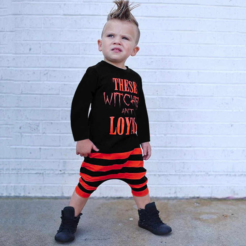 14366f7db7bac MUQGEW kids clothes 2018 boys Toddler Baby Boys Letter Tops T Shirts Striped  Prin Pants Halloween