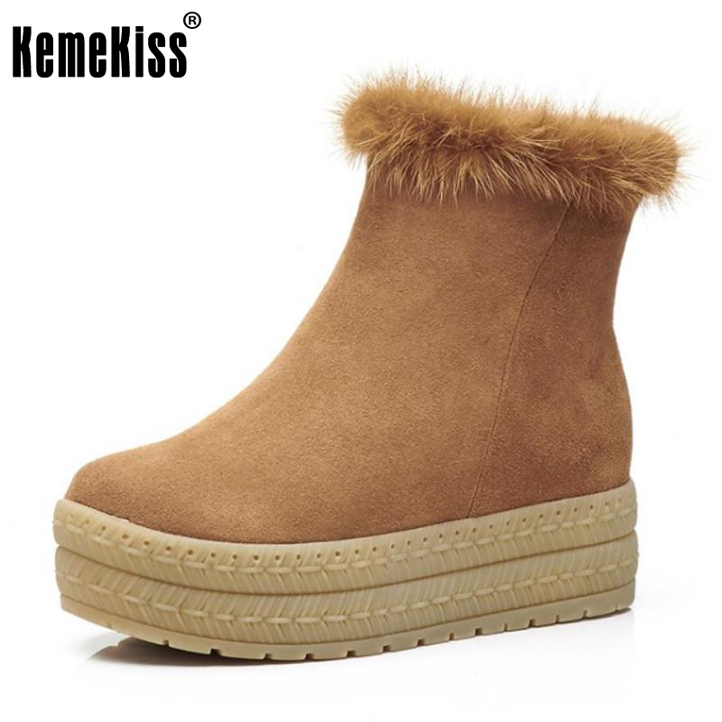 KemeKiss Size 34-39 Ladies Real Leather Height Increasing Ankle Boots Women Thick Platform Zip Shoes Women Winter Snow Botas kemekiss size 34 43 ladies height increasing mid calf boots women round toe cross tied shoes women thick fur warm snow botas