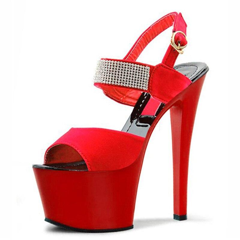 Made 17 Mode Schuhe Heels High rot Exotic Plattform Sexy Schwarzes Concise Zoll 6 schuhe Hand Heel Dancer Cm Strass r4wOr