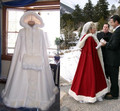2016 Часы Свадебные Кабо Кот Потрясающие Капюшоном с Фо меховой Отделкой Лодыжки Длина Красный Белый Идеально Подходит Для Зиму обертывания