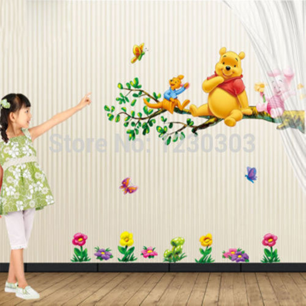 Kids room wall decor stickers - Animal Cartoon Winnie Pooh Vinyl Wall Stickers For Kids Rooms Boys Girl Home Decor Wall Decals Home Decoration Wallpaper Kids In Wall Stickers From Home