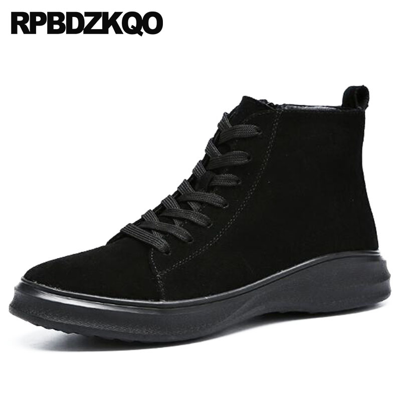 High Platform Sneakers Warm Top Men Casual Boots Trainer Sole Booties Thick Soled Black Fur Shoes Genuine Leather Suede Winter black super warm winter boots russian style full grain men fashion trainer sneakers high top genuine leather booties fur shoes