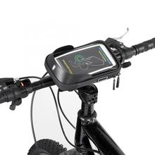 Bicycle Bags Mountain Bike Waterproof Bicycle Handlebar Cycling Cell Phone Bag 6.0 inch Touchscreen Black Bicycle Accessories roswheel 12496m b5 4 8 bicycle bike bag w earphone jack for cell phone black blue