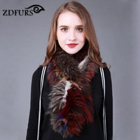 ZDFURS * New silver Fox fur scarf shawl best Christmas gift birthday gift genuine fox fur band new women's winter scarf wraps