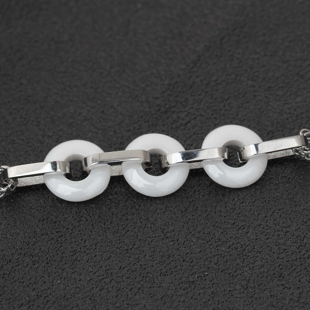 Di modo Nero/Bianco Ceramica Braccialetti Con Ciondoli Per Le Donne Cerchio Rotondi Braccialetti & braccialetti Pulseras Accessori Dei Monili