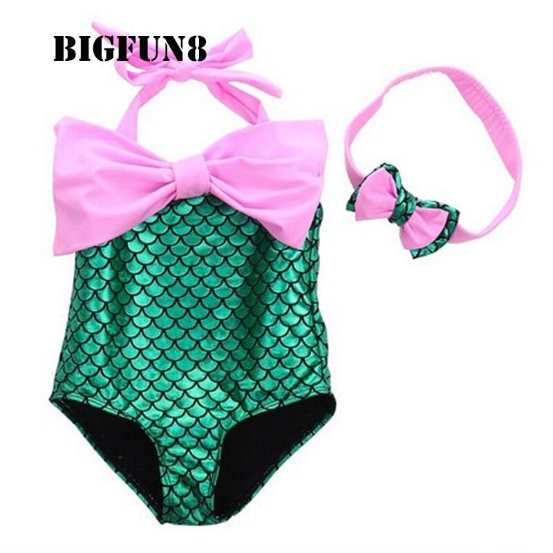 Kids Girls One Piece Swimwear Summer Mermaid Swimwear Bikini Set Swimsuit Bathing Suit Swimming -1706