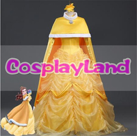 New Arrival Princess Belle Dress with Cloak Movie Beauty and the Beast Belle Cosplay Costume Fancy Carnival Dress Custom Made