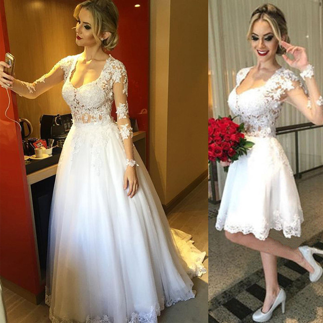 Short Wedding Dresses With Detachable Train A Line Romantic Princess