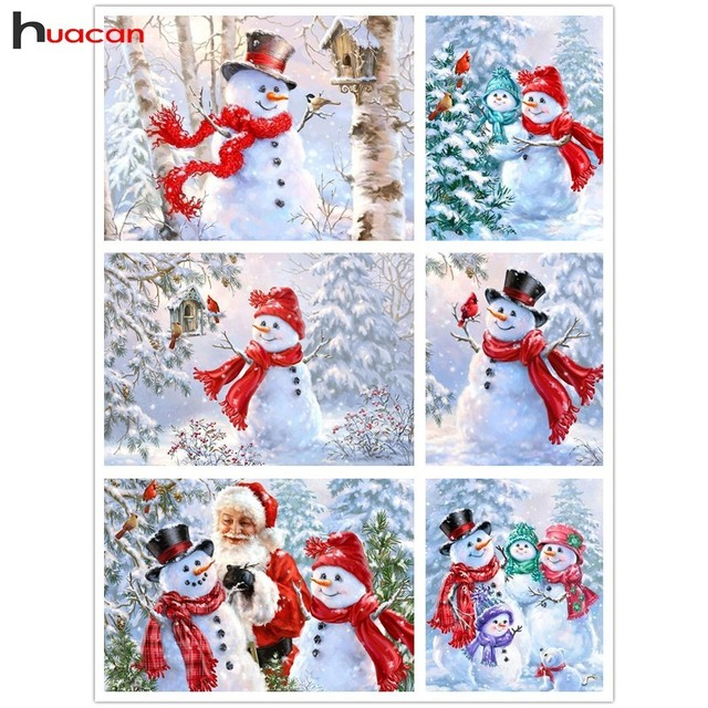 huacan diamond mosaic snowman diy diamond painting cartoon christmas cards full square drill santa claus picture of rhinestone in diamond painting cross - Cartoon Christmas Cards