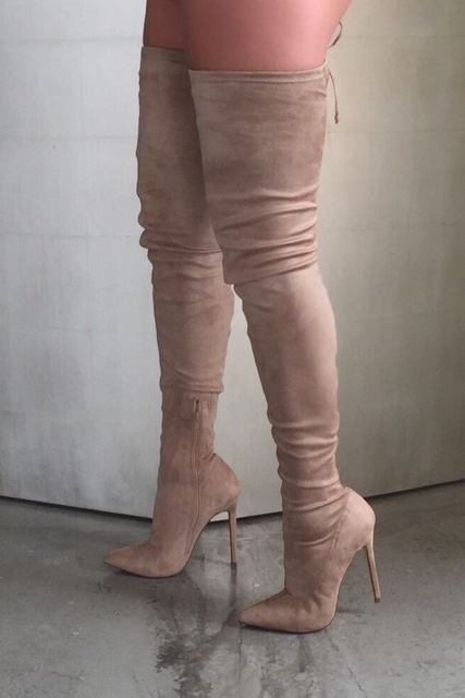 691e3a81d84e Sexy Stretch Fabric Thigh high boots pointed toe over the knee high heel  boots woman long boots stiletto heels boots beige black