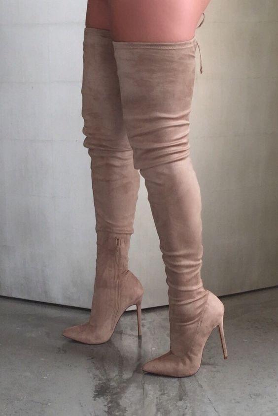 foto ufficiali 6da40 07c6a US $82.8 10% di SCONTO Sexy Tessuto Elasticizzato stivali alti donna scarpe  a punta sopra il ginocchio stivali tacco alto donna stivali lunghi tacchi  ...